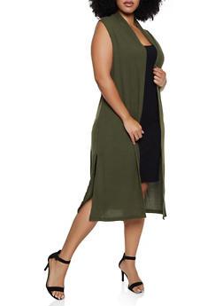 Plus Size Sleeveless Waffle Knit Duster - 3912038344196