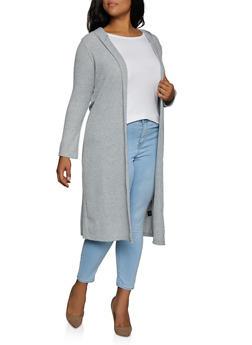 Plus Size Waffle Knit Side Slit Duster - 3912038344197