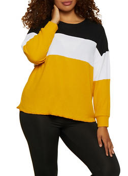 Plus Size Color Block Waffle Knit Top - 3912038344198