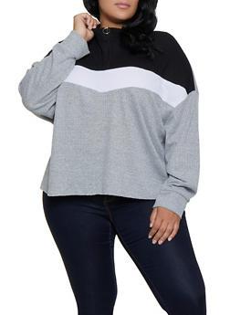 Plus Size Color Block Waffle Knit Zip Top - 3912038344199
