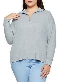 Plus Size Waffle Knit Zip Neck Top - 3912038344200