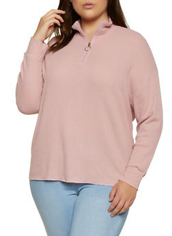 Plus Size Waffle Knit Zip Neck Top - 3912038344200