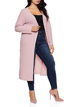 Plus Size Knit Side Slit Duster - 3912038344202