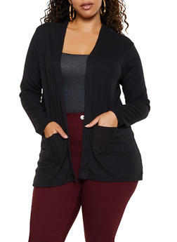 Plus Size Solid Waffle Knit Cardigan - 3912038344204