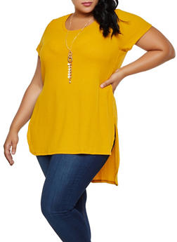 Plus Size Side Slit High Low Knit Top with Necklace - 3912038344207