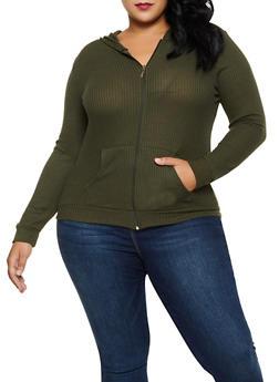 Plus Size Hooded Waffle Knit Zip Sweatshirt - 3912038344208