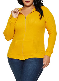 Plus Size Hooded Waffle Knit Zip Sweatshirt - 3912038344208
