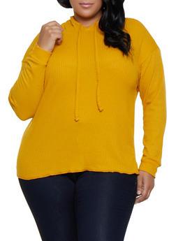 Plus Size Pullover Waffle Knit Sweatshirt - 3912038344209