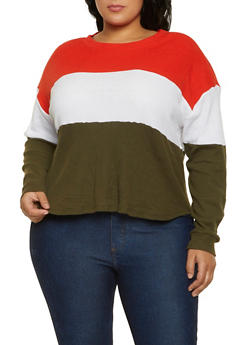 Plus Size Color Block Thermal Top - 3912038344210