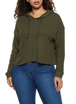 Plus Size Cropped Hooded Thermal Top - 3912038344223