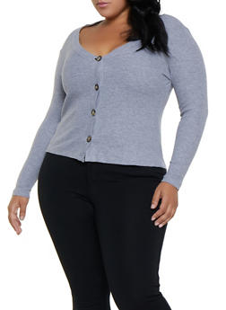 Plus Size Waffle Knit Button Front Top - 3912038344225