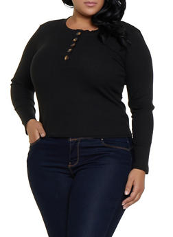 Plus Size Half Button Rib Knit Top - 3912038344233