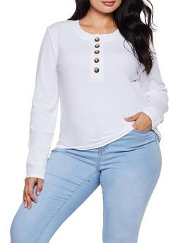 Plus Size Half Button Rib Knit Top - 3912038344233