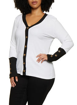 Plus Size Contrast Button Trim Top - 3912038344236