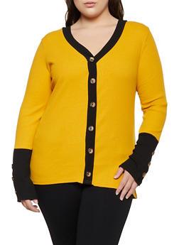 Plus Size Contrast Button Trim Top - 3912038344236