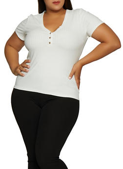 Plus Size Ribbed V Neck Top - 3912038344244