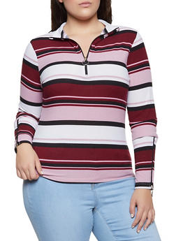 Plus Size Striped Rib Knit Zip Neck Top - 3912038344257