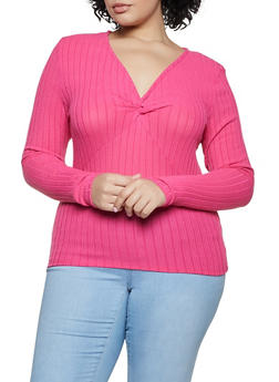 Plus Size Twist Front Ribbed Knit Top - 3912038344270