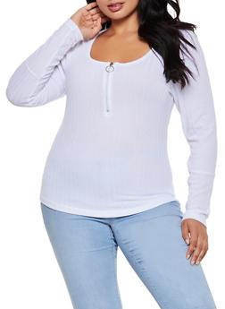 Plus Size Zip Neck Top - 3912038344272