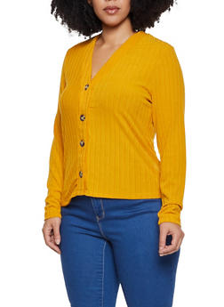 Plus Size Ribbed Button Cardigan - 3912038344276