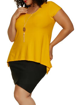 Plus Size Sharkbite Scoop Neck Top with Necklace - 3912038344307