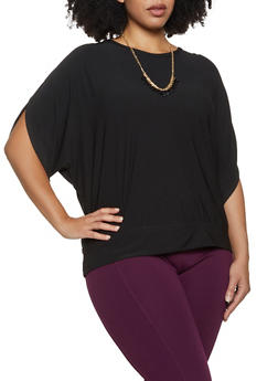 Plus Size Split Sleeve Top with Necklace - 3912038344310