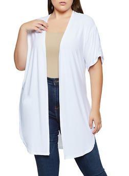 Plus Size Textured Knit Side Slit Duster - 3912038344318