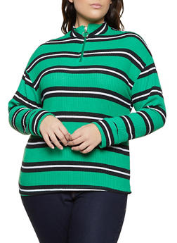 Plus Size Striped Thermal Zip Neck Top - 3912038344342