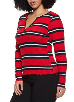 Plus Size Striped Thermal Top - 3912038344343