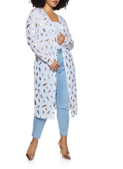 Plus Size Feather Print Duster - 3912038344351