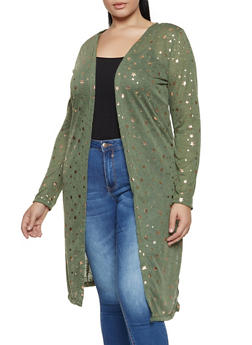 Plus Size Foiled Star Print Duster - 3912038344354