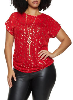 Plus Size Anchor Print Top with Necklace - 3912038344357