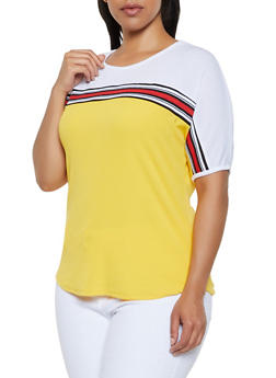 Plus Size Ribbed Color Block Top - 3912038349115