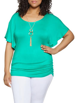 Green Plus Sized Tops