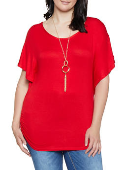 Plus Size Ruched Top with Necklace - 3912038349203