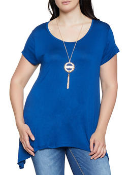 Plus Size Asymmetrical Tee with Necklace | 3912038349204 - 3912038349204