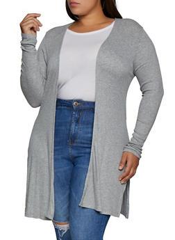 Plus Size Ribbed Knit Side Slit Duster - 3912042010202