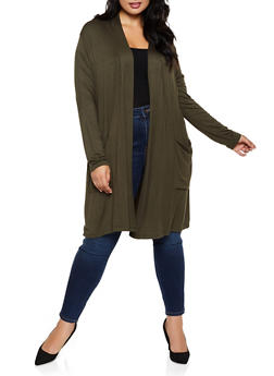 Plus Size Two Pocket Duster - 3912042017624