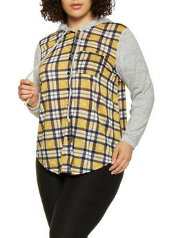Plus Size Printed Knit Hooded Shirt - 3912051060006