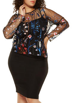 Plus Size Floral Embroidered Mesh Top - 3912051066064