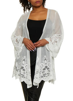 Plus Size Lace Detail Mesh Duster - 3912051066264