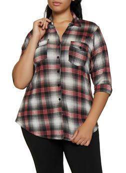 Plus Size Three Quarter Sleeve Plaid Shirt - 3912051066707
