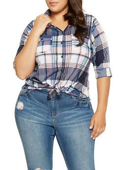 Plus Size Plaid Button Front Shirt - 3912051066729