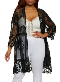 Plus Size Floral Embroidered Lace Duster - 3912051067076