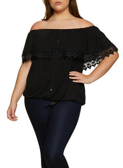 Plus Size Off the Shoulder Button Top - 3912051067085