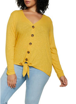 Plus Size Ribbed Tie Button Front Shirt - 3912051067123