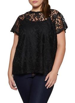 Plus Size Lace Short Sleeve Top - 3912051067134