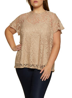 Plus Size Lace Short Sleeve Top - 3912051067134