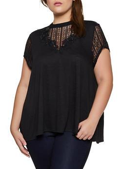 Plus Size Lace Yoke Short Sleeve Top - 3912051067160