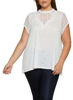 Plus Size Lace Yoke Short Sleeve Top - 3912051067160